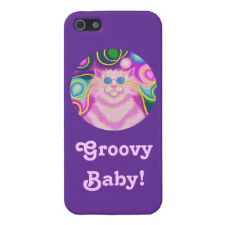 Psy-cat-delic Pink 'Groovy Baby!' purple iPhone 5 iPhone SE/5/5s Cover