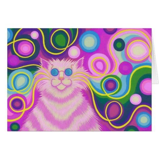 Psy-cat-delic Pink 'Happy Birthday' greetings card