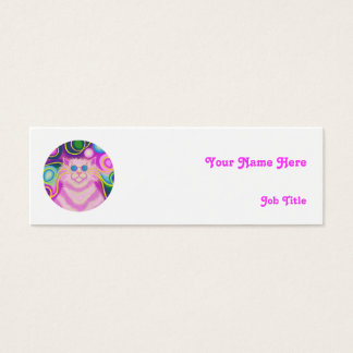 Psy-cat-delic Pink 'name' skinny white Mini Business Card