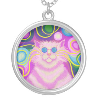 Psy-cat-delic Pink necklace round