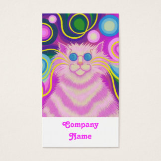 Psy-cat-delic Pink portrait white Business Card