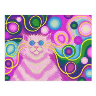 Psy-cat-delic Pink postcard