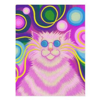 Psy-cat-delic Pink postcard vertical