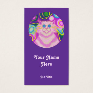 Psy-cat-delic Pink 'round' portrait white Business Card