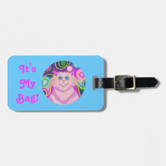 Psy-cat-delic Pink Round 'text' blue landscape Luggage Tag