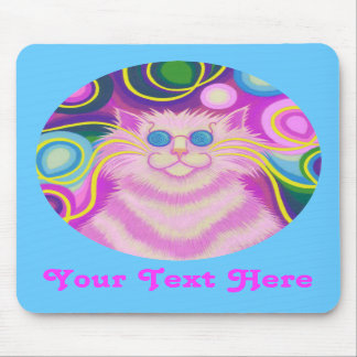 Psy-cat-delic pink round 'Your Text' blue mousepad
