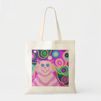 Psy-cat-delic Pink tote bag