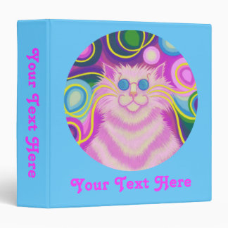 Psy-cat-delic Pink 'Your Text' binder blue