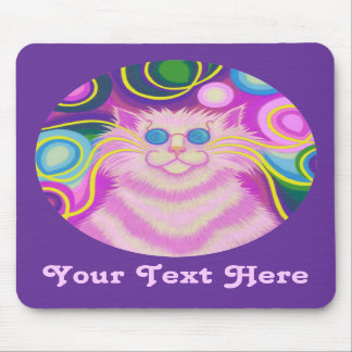 Psy-cat-delic pink  'Your Text'  purple mousepad