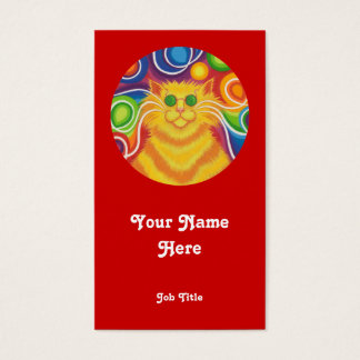 Psy-cat-delic 'round' business card portrait red