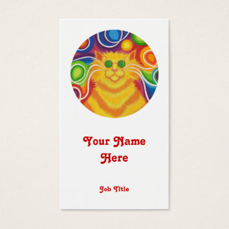 Psy-cat-delic 'round' business card portrait white