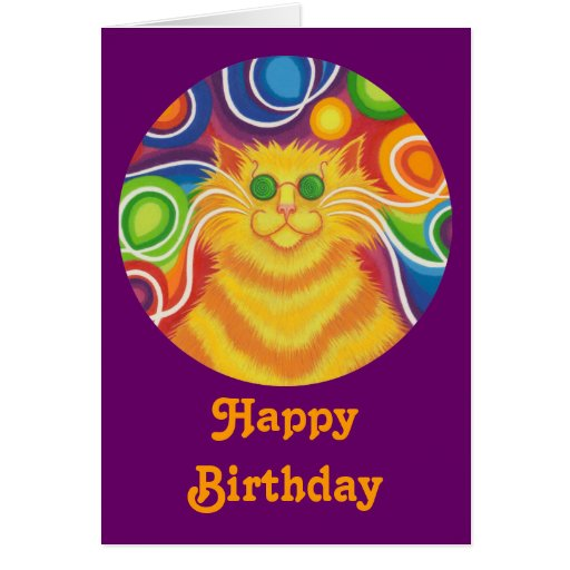 Psy-cat-delic round  'Happy Birthday' card purple