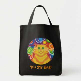 Psy-cat-delic round 'It's my Bag' tote bag