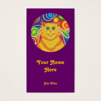 Psy-cat-delic 'round' portrait purple business card