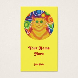 Psy-cat-delic 'round' portrait yellow business card