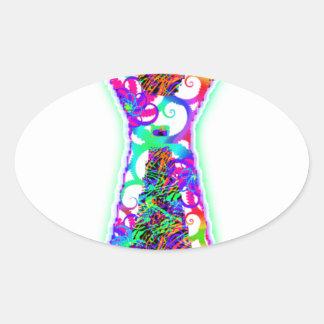 psy tie oval sticker