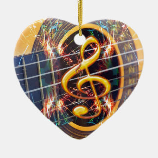 Psychadelic Accoustic Guitar, music sheet design Ceramic Ornament