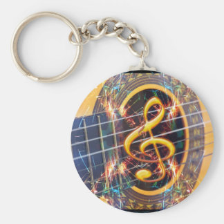 Psychadelic Accoustic Guitar, music sheet design Keychains