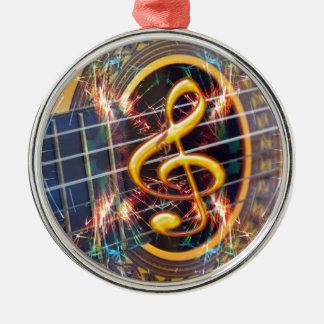 Psychadelic Accoustic Guitar, music sheet design Metal Ornament