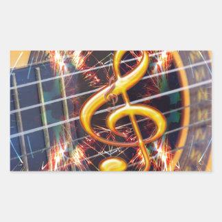 Psychadelic Accoustic Guitar, music sheet design Rectangular Sticker