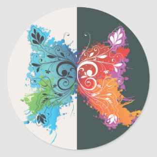 Psychadelic Butterfly Classic Round Sticker