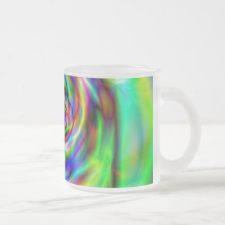 Psychadelic design 10 oz frosted glass coffee mug