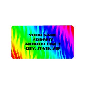 Psychadelic flaming rainbow colors address label