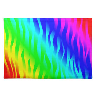 Psychadelic flaming rainbow colors placemat