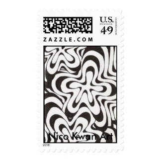 Psychadelic Flowers, Nico Kwan Art Postage Stamp