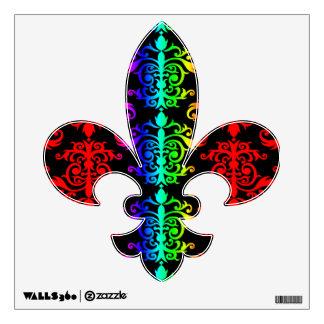 Psychadelic fluorescent rainbow colors damask wall sticker