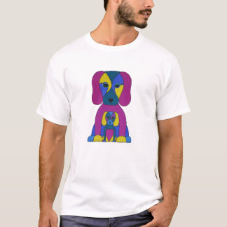 Psychadelic Mom and Baby Dog Art T-shirt