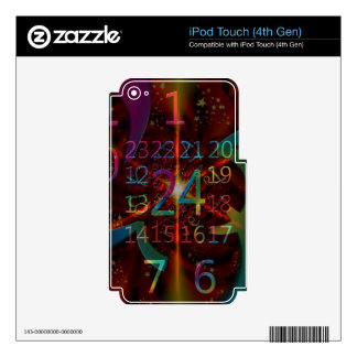 Psychadelic numbers pattern, mesmerising design decal for iPod touch 4G