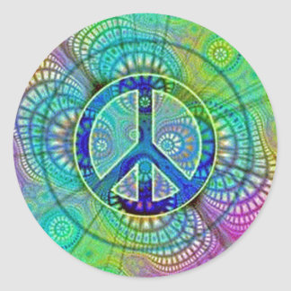 Psychadelic Peace Sign Classic Round Sticker