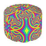 Psychadelic rainbow colors kaleidoscope custom round pouf