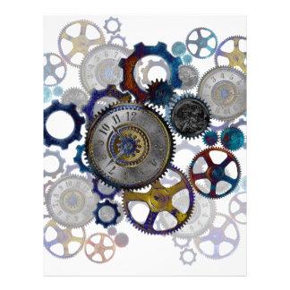 Psychadelic steampunk gears, cogs, clock face gift letterhead