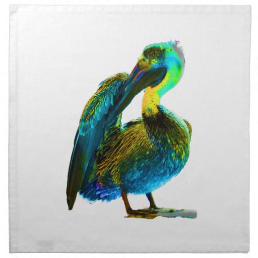 Psychadelic Young Pelican Cleaning Printed Napkin