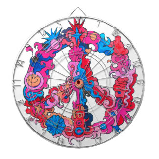 Psychdeclic Peace Symbol Dartboard With Darts