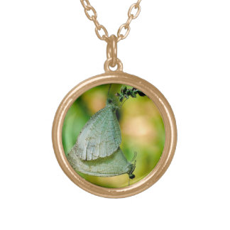 Psyche Leptosia Nina Butterflies Mating Round Pendant Necklace