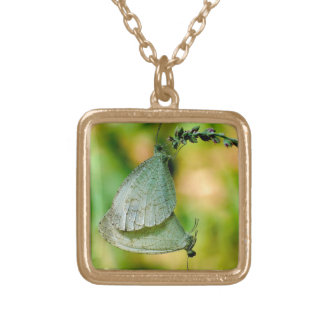 Psyche Leptosia Nina Butterflies Mating Square Pendant Necklace