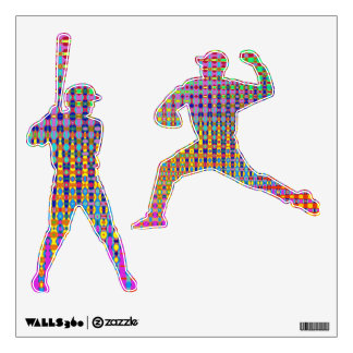 Psychedelia Baseball Batter & Pitcher Wall Decals
