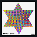 """Psychedelia Star Of David Wall Decal<br><div class=""""desc"""">Abstract,  colorfully psychedelic,  geometric illustration design.</div>"""