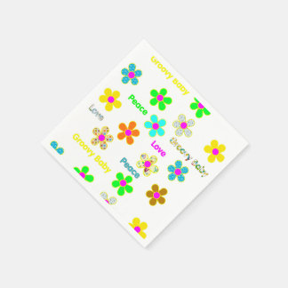 Psychedelic 60s Groovy Flowers Pattern Napkin