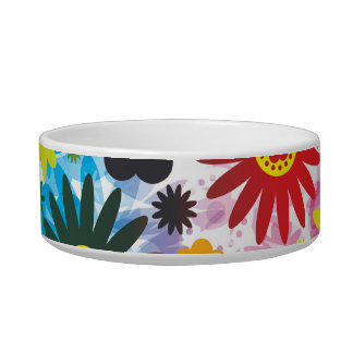 Psychedelic 60s Red Green Flowers Pattern Bowl