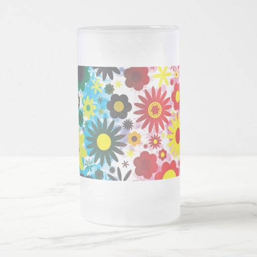 Psychedelic 60s Red Green Flowers Pattern Glass Coffee Mugs