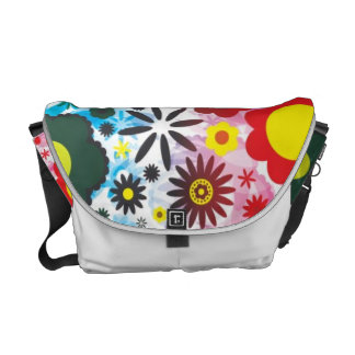 Psychedelic 60s Red Green Flowers Pattern Messenger Bag