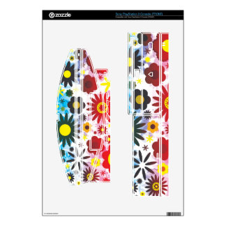 Psychedelic 60s Red Green Flowers Pattern Skin For The PS3 Console