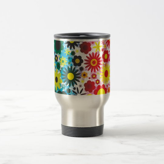 Psychedelic 60s Red Green Flowers Pattern Travel Mug