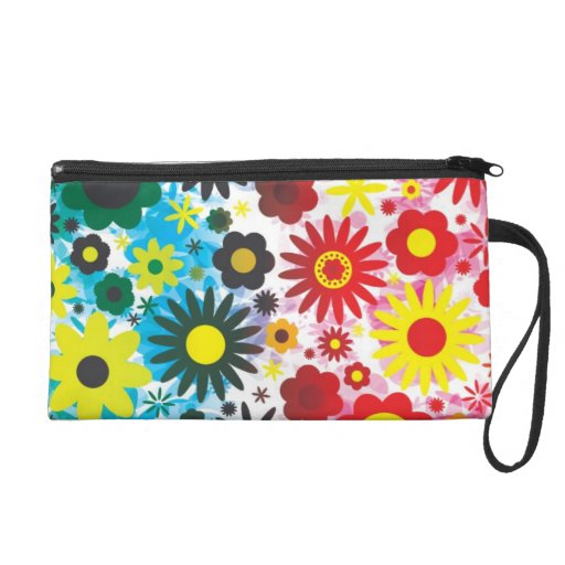 Psychedelic 60s Red Green Flowers Pattern Wristlet Purses