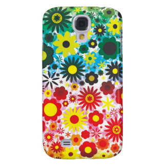 Psychedelic 60s Red Green Flowers Pern Galaxy S4 Cover