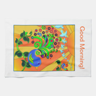 Psychedelic Abstract Bird Hand Towels
